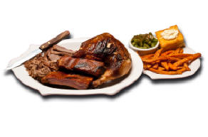 Memphis Style St. Louis Ribs - Our slow smoked pork ribs served Memphis style (dry rub seasoning only, no sauce) or wet (with our house BBQ sauce) and choice of two sides.