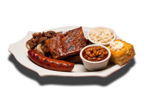 Smoked Combo - Three St. Louis ribs, pulled pork & smoked sausage. Choice of two sides and cornbread.